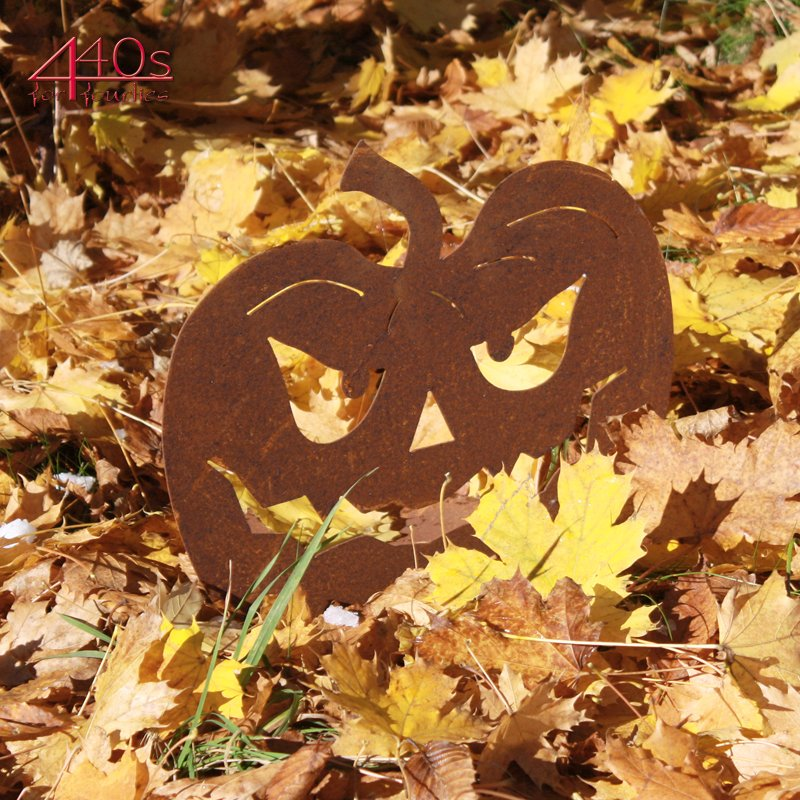 SAREMO Rost Halloween Kürbis auf Platte ca 30 cm H, 23,90
