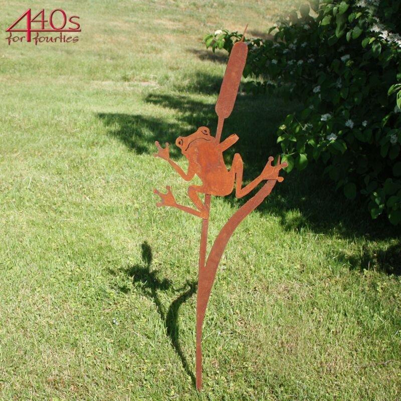 SAREMO Rost-Frosch an Schilf Stecker H ca.120cm | SA-FrS3