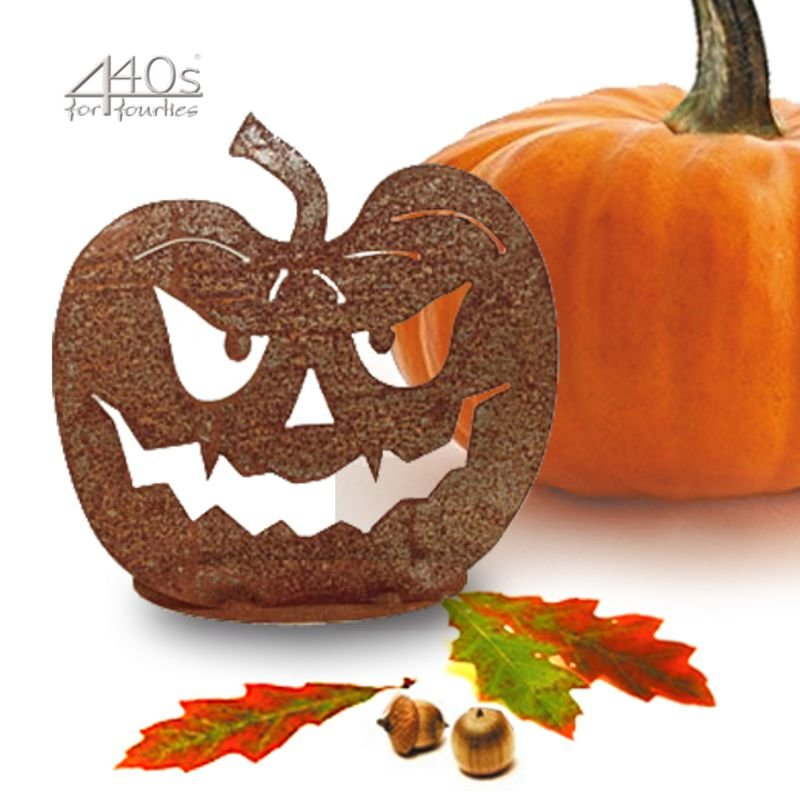SAREMO Rost-Halloween-Kürbis auf Platte ca. 25 cm H | SA-HK3