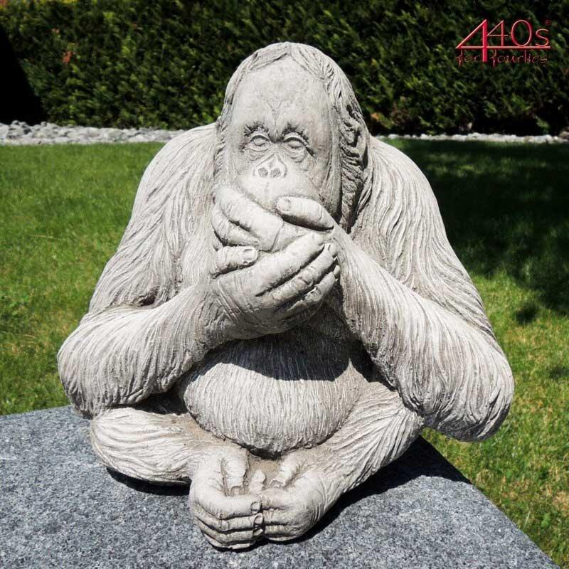 "Kretakotta Affe Orang-Utan ""nichts sagen"" Antiksteinguss H ca. 23 cm   KK-1208"