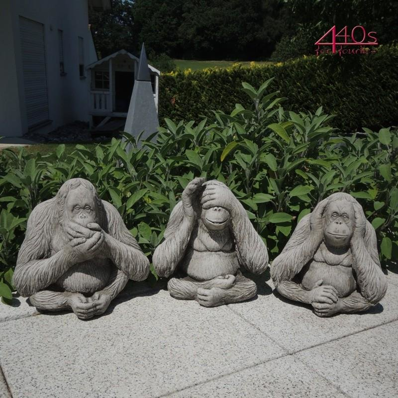 Kretakotta Die-Drei-Affen Orang-Utan-Set Antiksteinguss H ca. 23 cm
