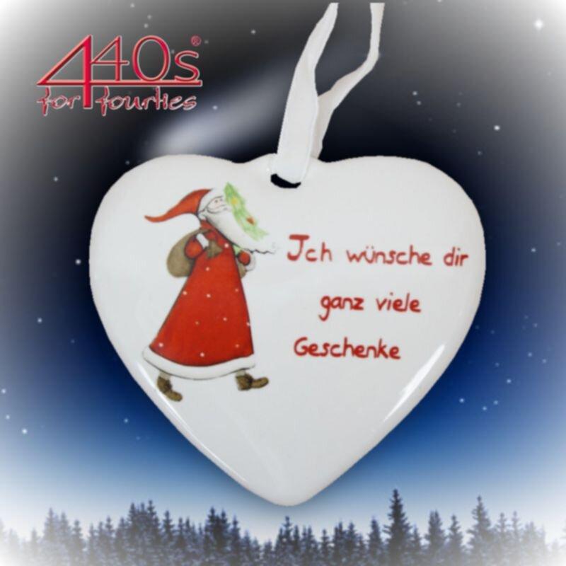 kwoka Keramik-Herz Hänger mit Spruch Motiv Nikolaus ca. 8 cm D