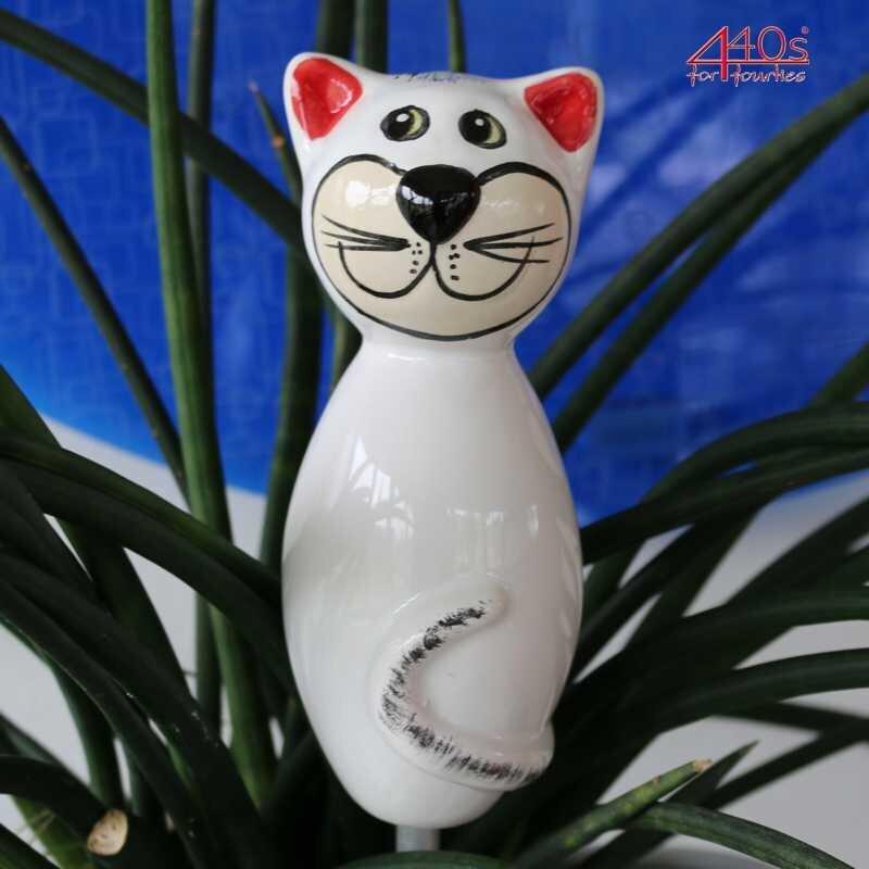 Tangoo Keramik-Katze MINI weiß-grau glänzend | TA-44307