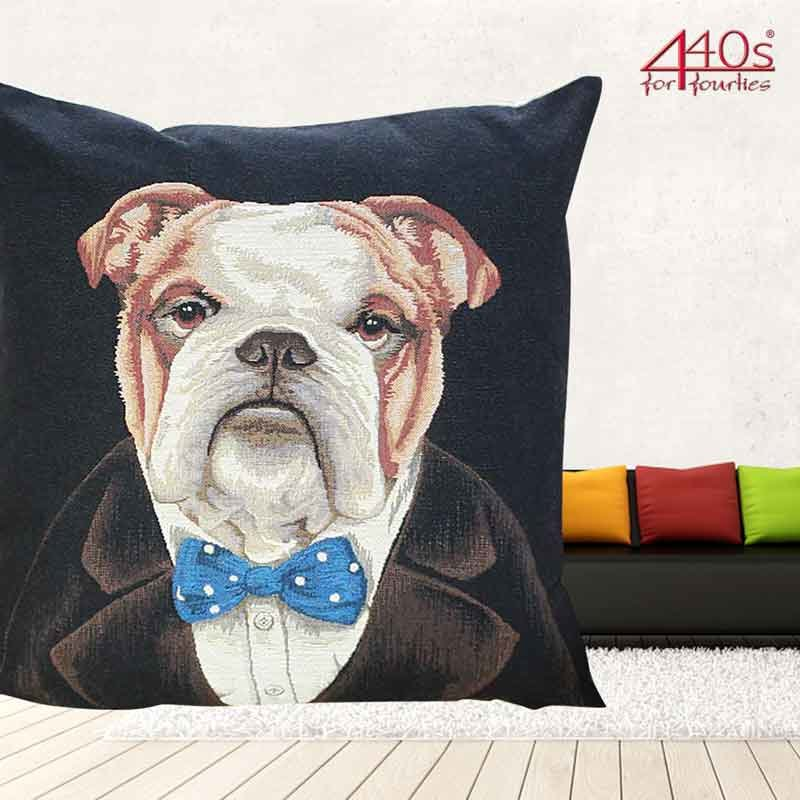 Mars & More Gobelin Kissen Hund Churchill ca. 45 x 45 cm | MM-EVKSCBD