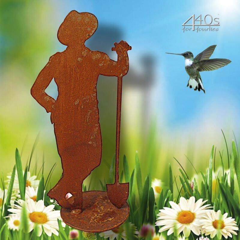 SAREMO Rost-Figur-Gärtner Paul mit Schaufel auf Platte H ca. 31 cm | SA-GP30P