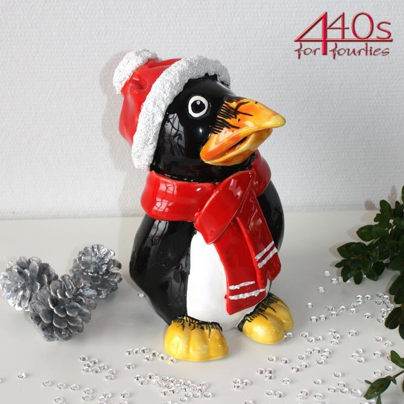 Tangoo Keramik-Pinguin mit rotem Schal und Mütze | TA-35801