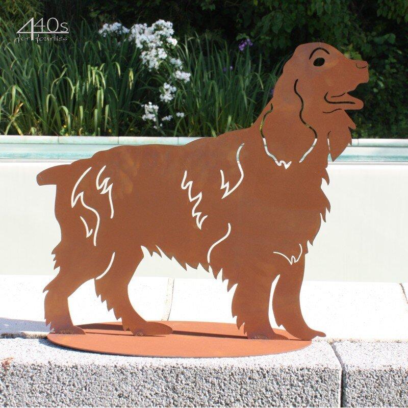 440s Hund Rostfigur Setter auf Platte | FE-5-0302