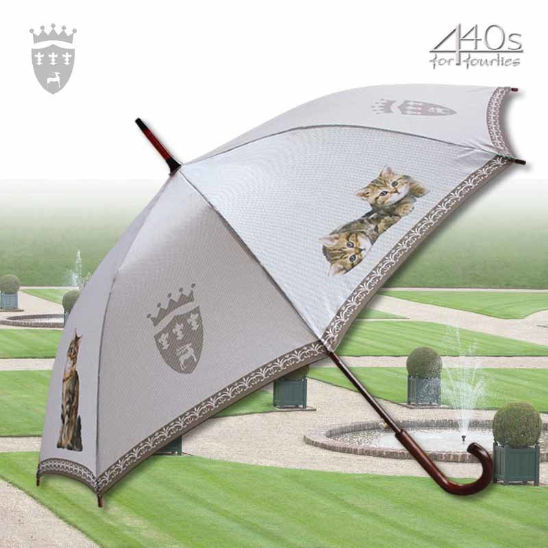 Von Lilienfeld® Automatik-Regenschirm GETIGERTE KATZEN, ca. 100 cm D