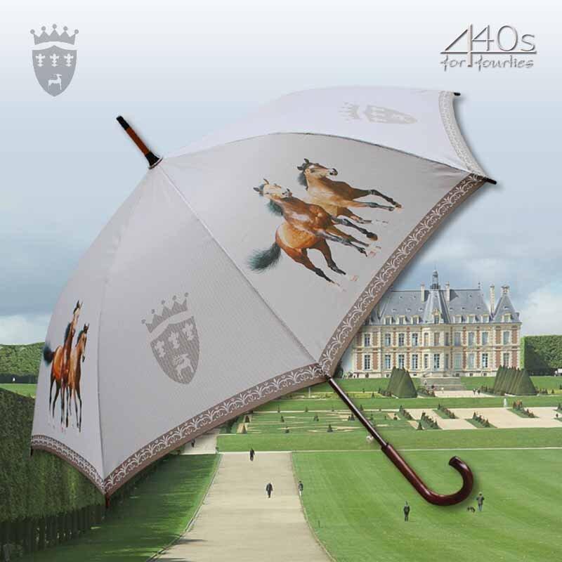 Von Lilienfeld® Automatik-Regenschirm ZWEI BRAUNE PFERDE, ca. 100 cm D