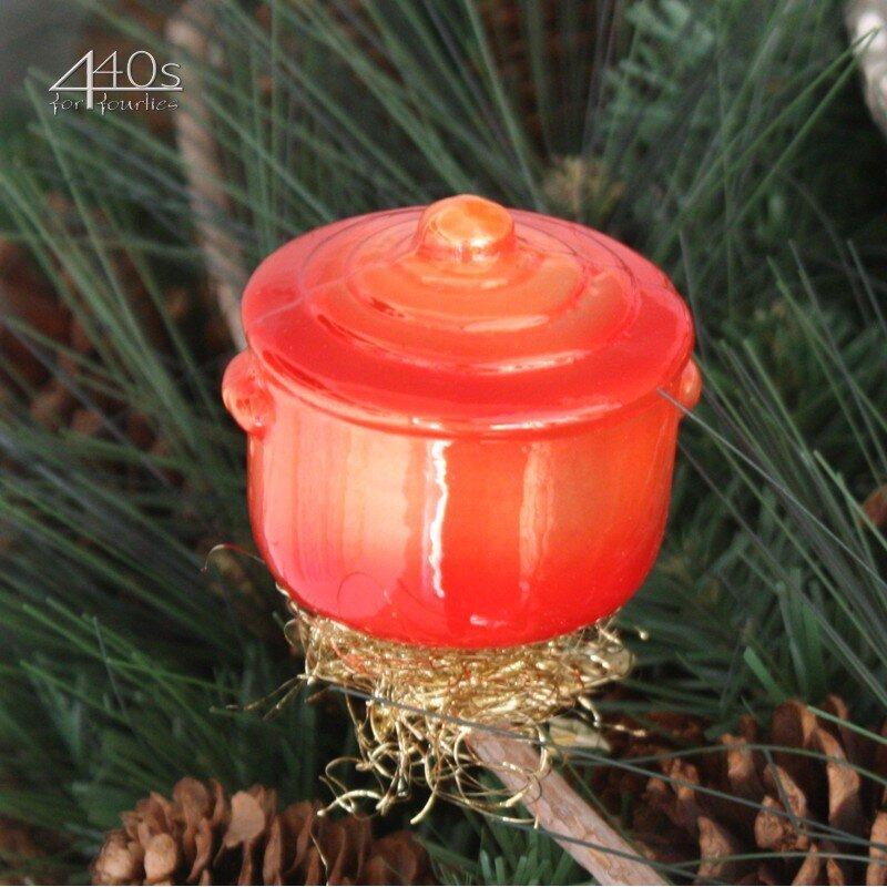 INGE-GLAS Weihnachts-Clip Koch-Topf orange | IG-1-135-13-OR