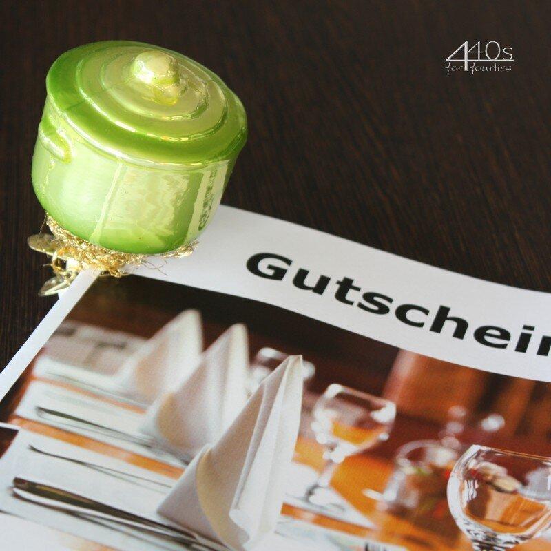 INGE-GLAS Weihnachts-Clip Koch-Topf grün   IG-1-135-13-GR