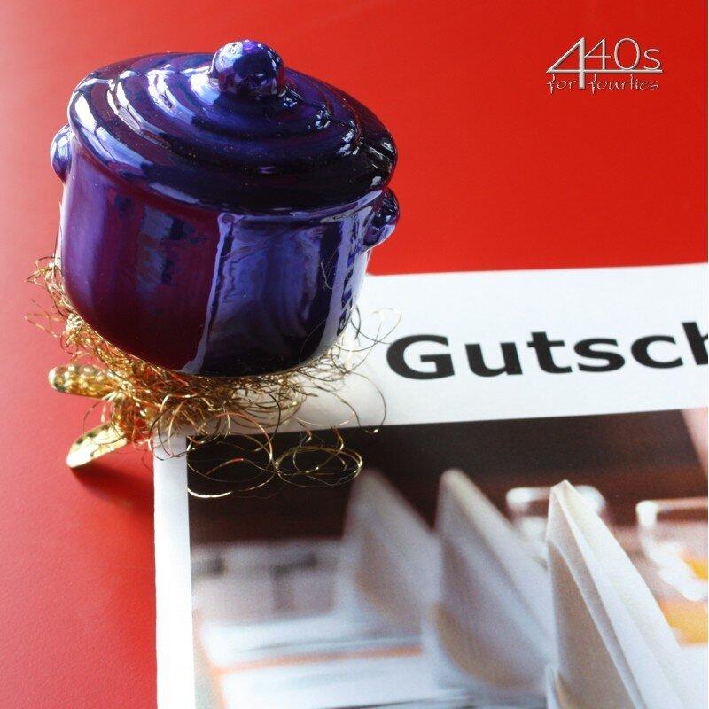INGE-GLAS Weihnachts-Clip Koch-Topf blau   IG-1-135-13-BL