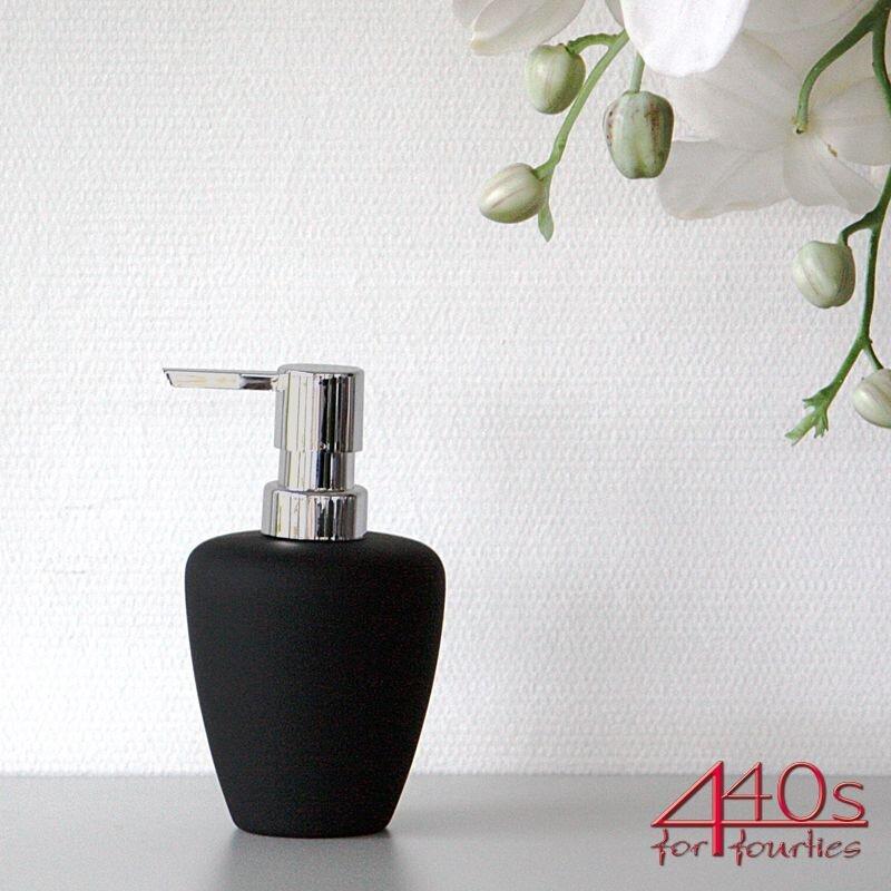 ZONE Seifenspender SOFT, Porzellan mit Soft-Touch, schwarz-silber, ca. 14,5 cm H
