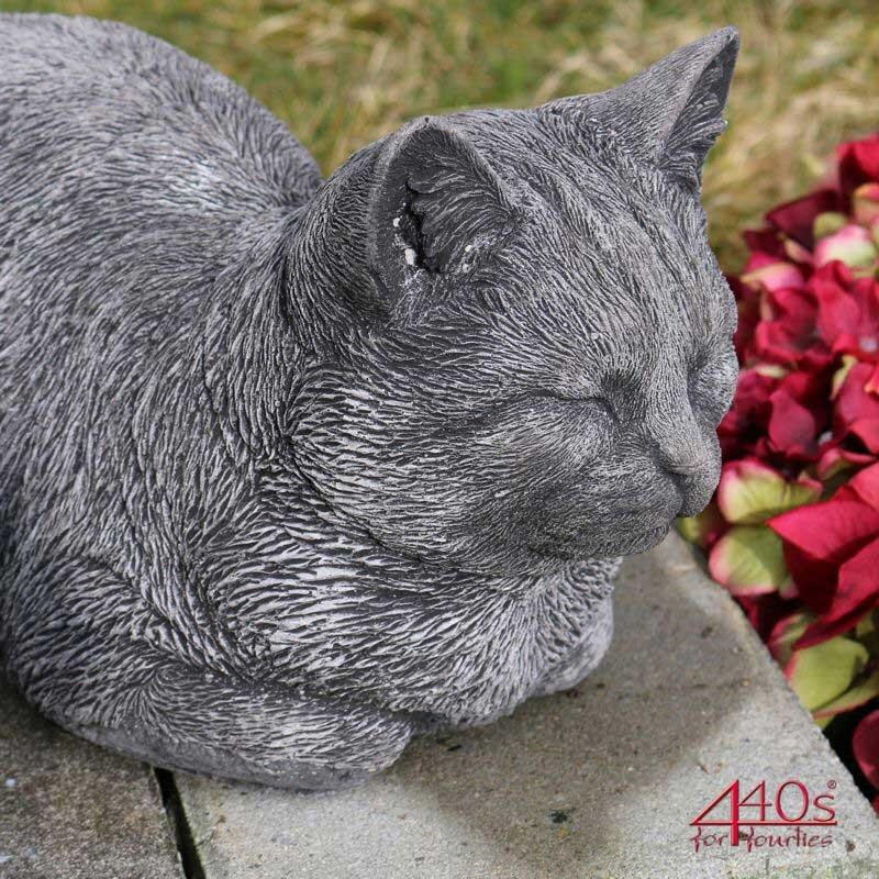 Kretakotta dösende Katze Antiksteinguss L. ca. 32 cm   KK-1065A