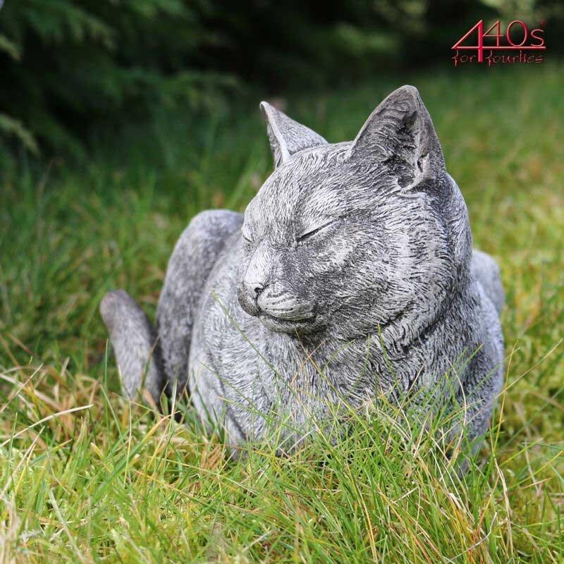 Kretakotta ruhende Katze Antiksteinguss L. ca. 33 cm   KK-1065B