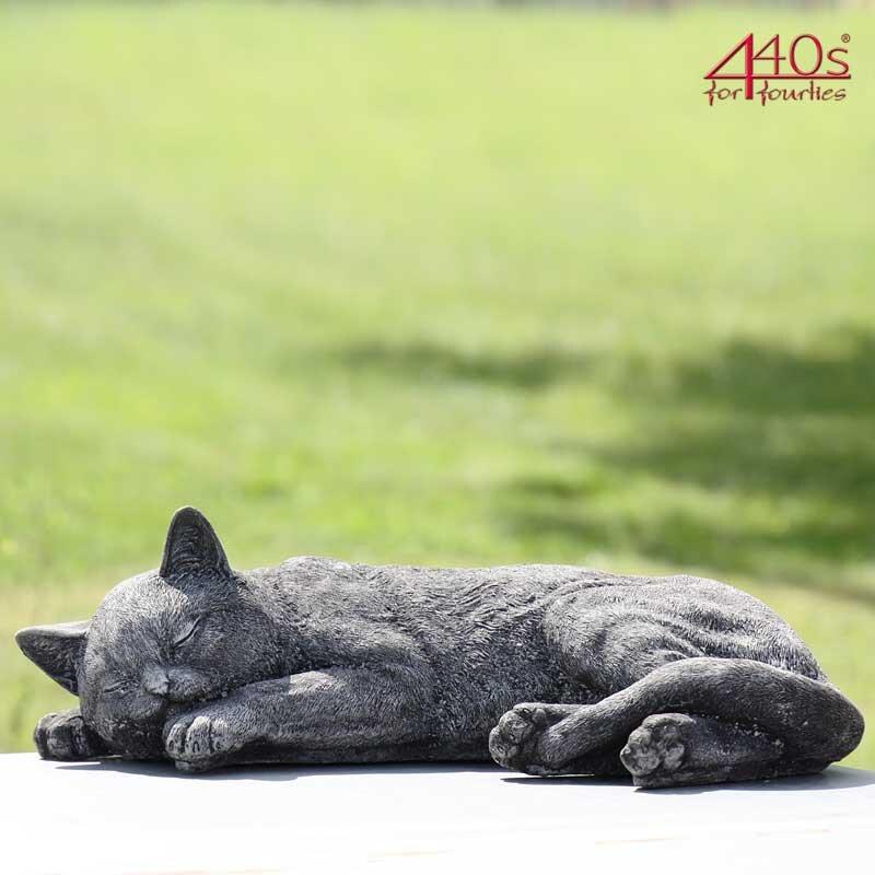 Kretakotta Katze liegend Antiksteinguss L ca. 45 cm   KK-1045