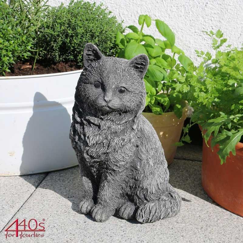 Kretakotta sitzende Katze Antiksteinguss H. ca. 26,5 cm   KK-1030