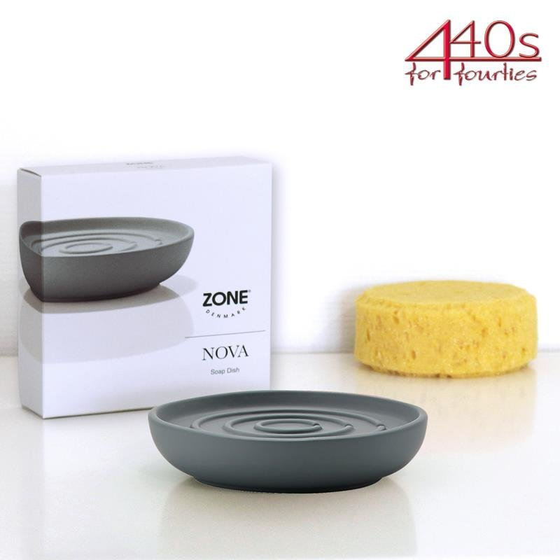 ZONE Seifenschale NOVA, Porzellan, grau, ca. 11 cm D   ZO-351039   5708760574827