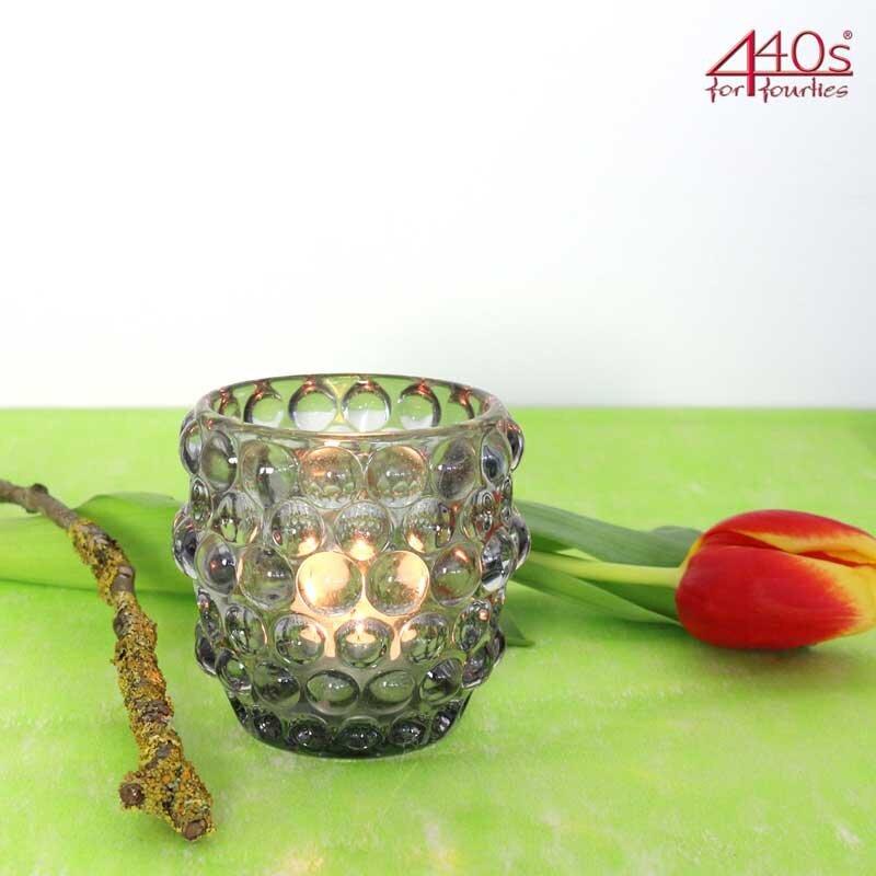 AM-Design Glas-Windlicht KREISE, rauch, massiv Glas, H ca. 10,5 cm