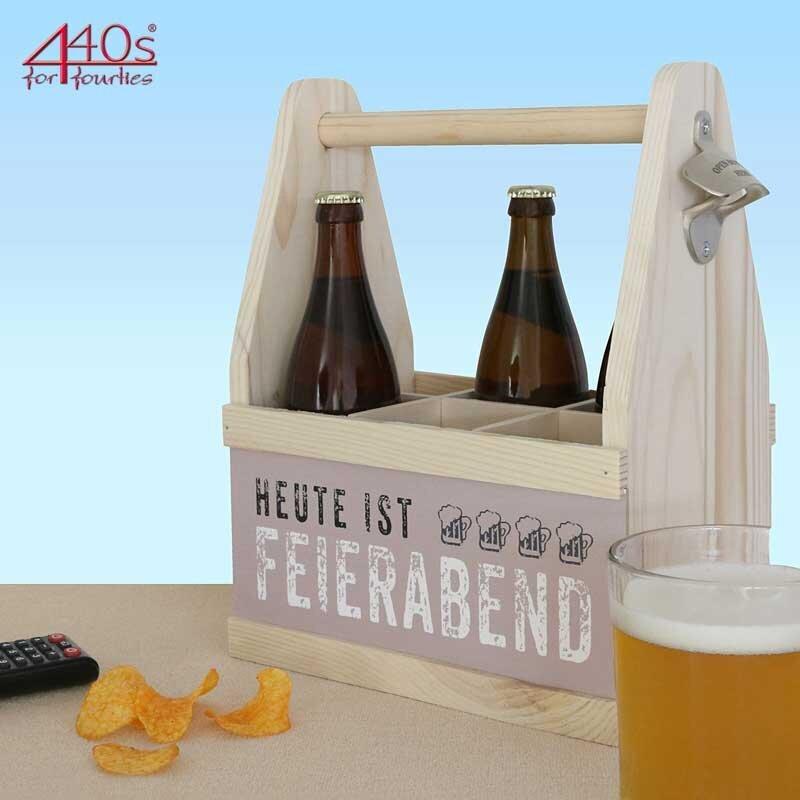 Contento Beer Caddy für 6 Flaschen HEUTE IST FEIERABEND Holz