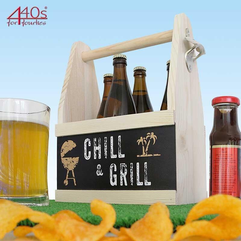 Contento Beer Caddy für 6 Flaschen, CHILL & GRILL, Holz | CO-866643