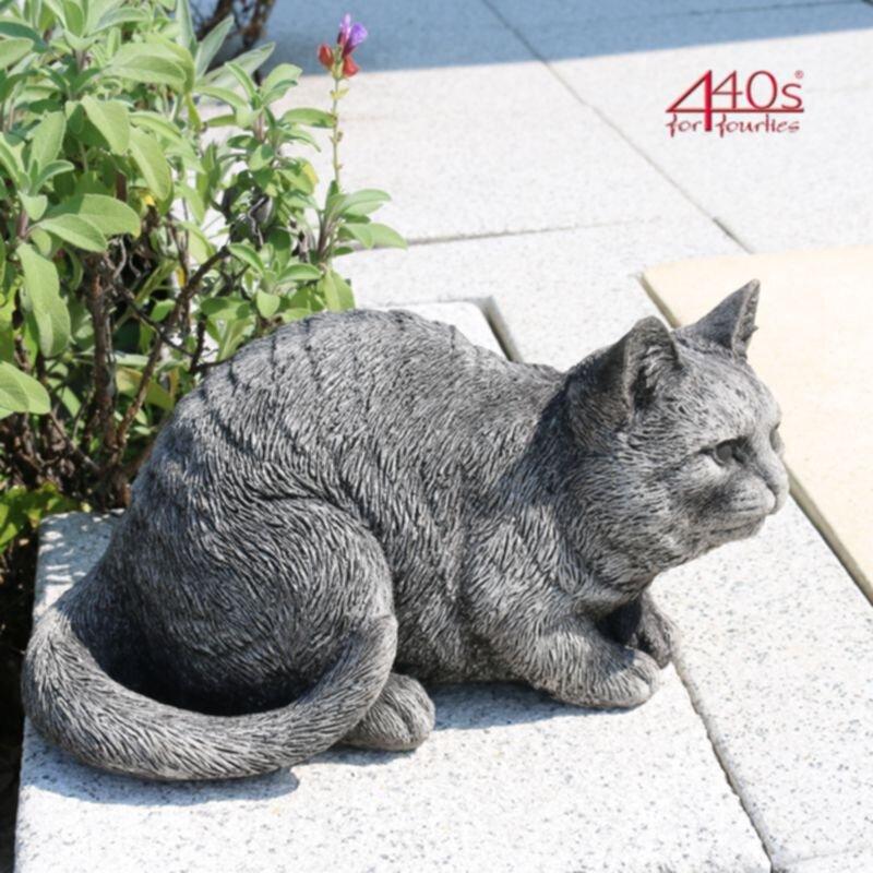 Kretakotta Katze wachend Antiksteinguss L ca. 31 cm   KK-2018-15