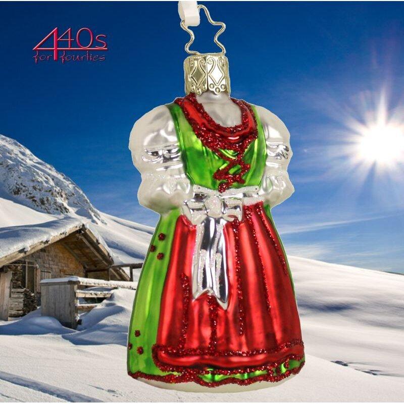 INGE-GLAS Weihnachts-Anhänger rot grünes Weihnachtsdirndl