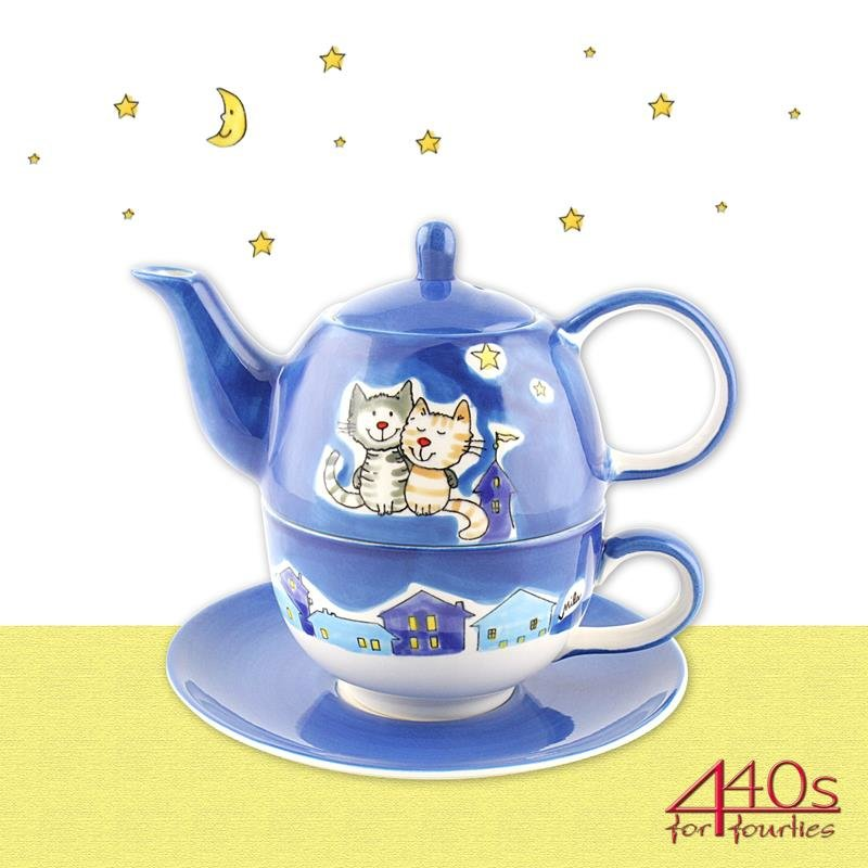 Mila Keramik Tee-Set- Tea for One NachtKatzen | MI-99425
