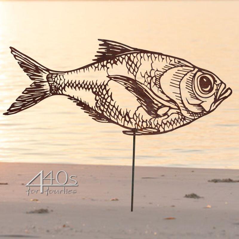 SAREMO Rost-Fisch Karpfen ca. 65 cm L mit Stab | SA-FischC65