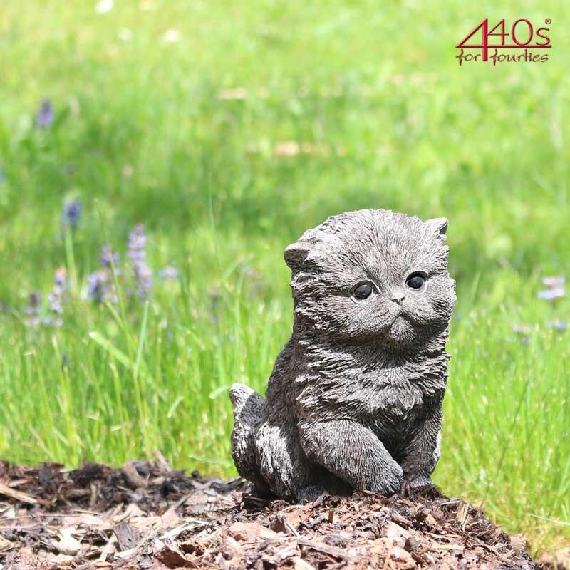 Kretakotta kleine dicke Katze Antiksteinguss H ca. 15,5 cm   KK-1027G