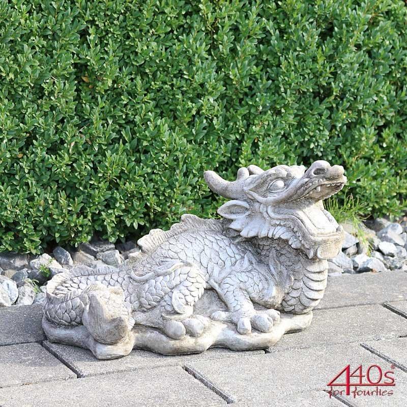 Kretakotta Chinesischer Glücksdrache Antiksteinguss L ca. 43 cm | KK-324