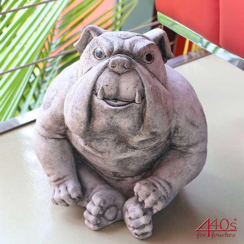 Kretakotta Bulldogge Buster H ca.30cm Antiksteinguss | KK-1066