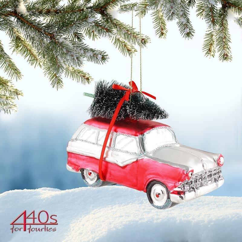 Gift-Company Christbaum-Hänger Auto + Weihnachtsbaum rot-weiß