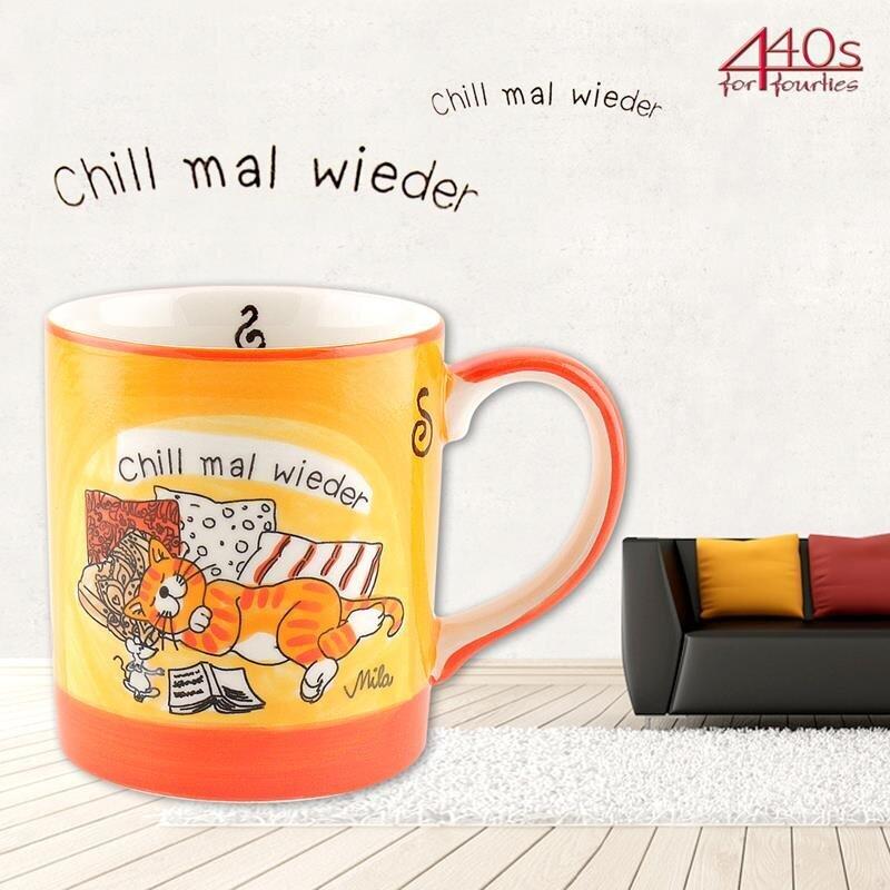 Mila Keramik-Becher, Oommh Katze Chill mal wieder | MI-80159