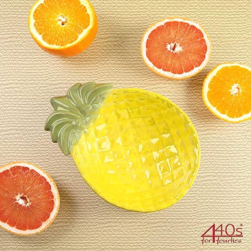 AM-Design Keramik-Schale Ananas, gelb-grün, L ca. 22,5 cm