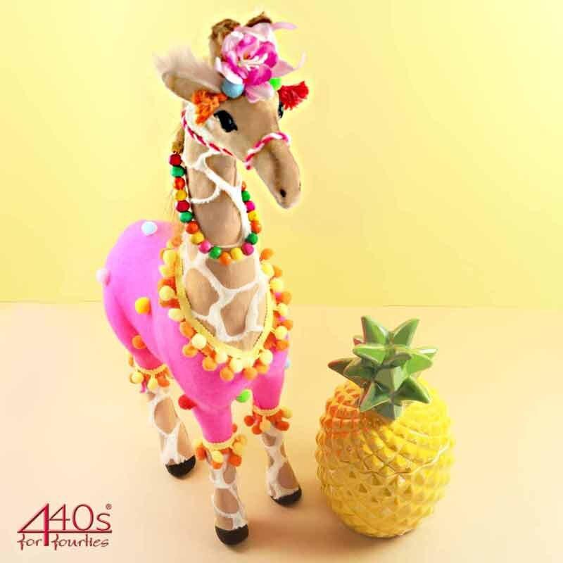 440s AM-Design Deko-Stoff-tier Giraffe Hawai, bunt, H ca. 53 cm