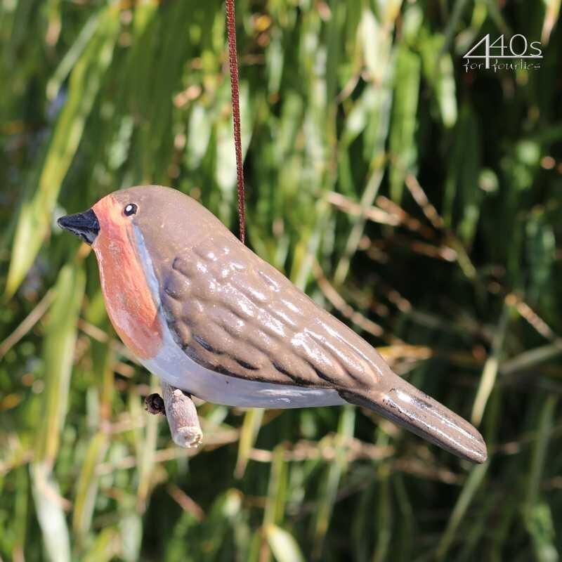 Tangoo Keramik-Vogel Rotkehlchen auf Holz hängend | TA-17006