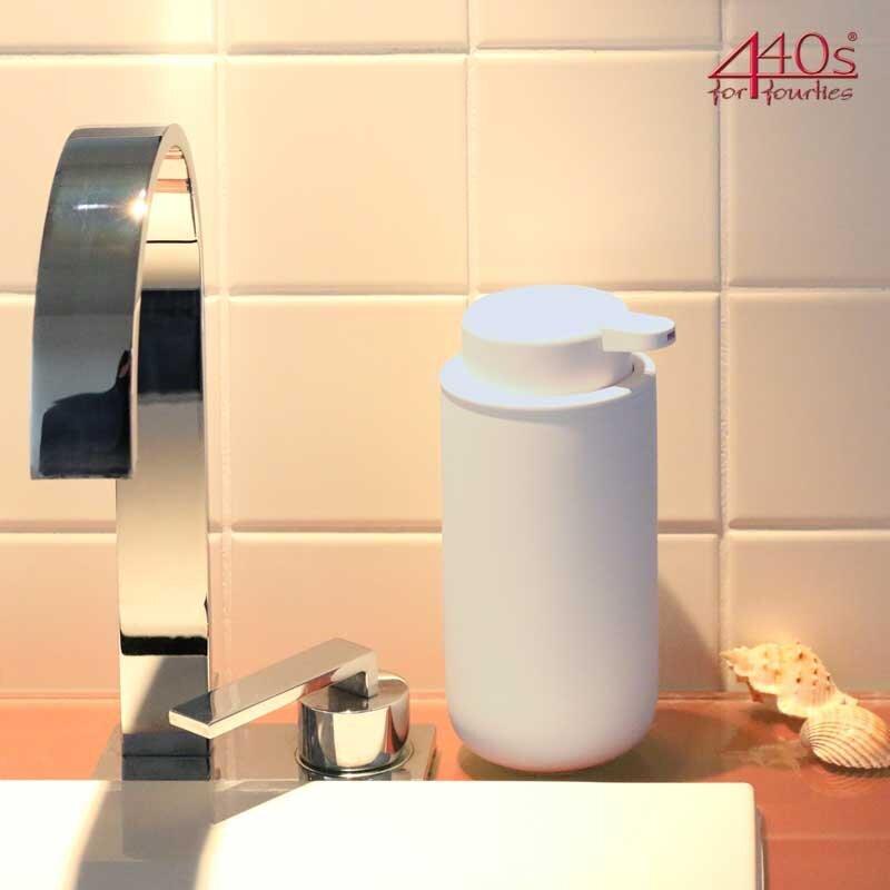 440s ZONE Seifenpumpe UME Big, Steingut mit Soft-Touch, soft grey, ca. 18 cm H