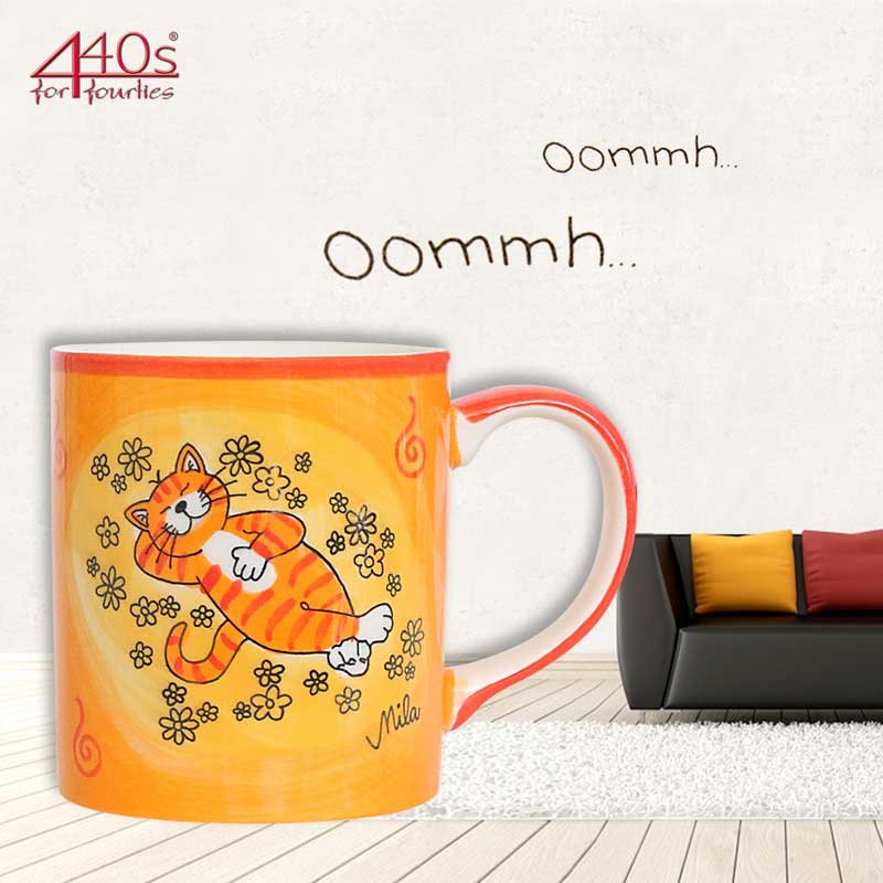 Mila Keramik-Becher Oommh Katze Verschnaufpause | MI-80195