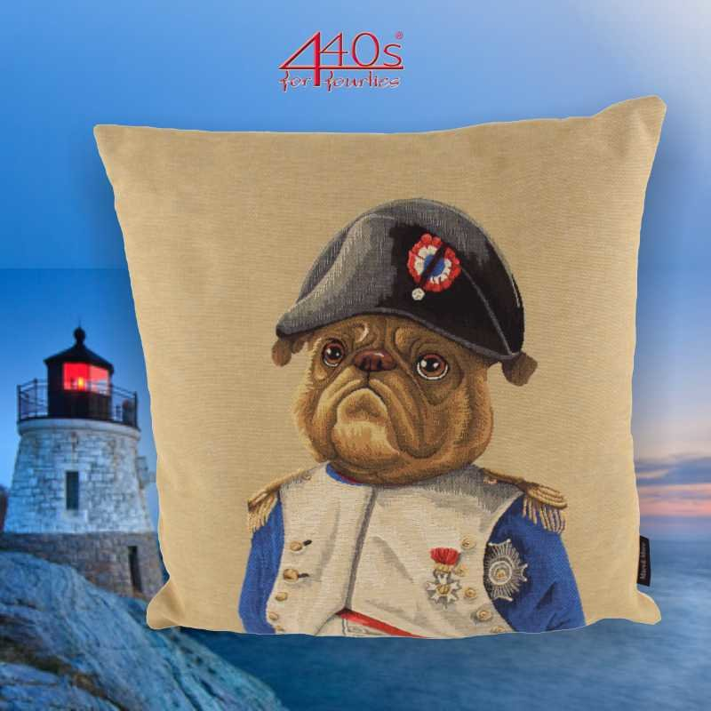 Mars & More Gobelin Kissen Sir Napoleon Bulldogge ca 45 x 45 cm | MM-EVKSNAB