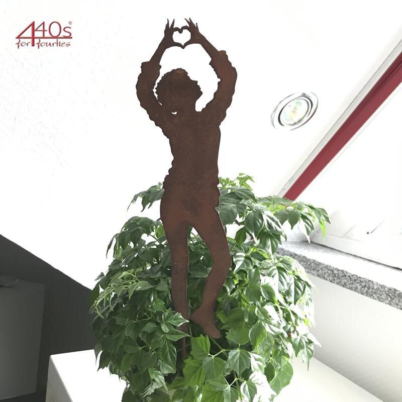 SAREMO Rost Figur Dani mit Herz ca 30 H cm auf Stab | SA-DaniH30S