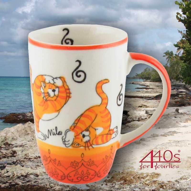 Mila Keramik-Design-Becher Oommh Yoga Katze | MI-95212