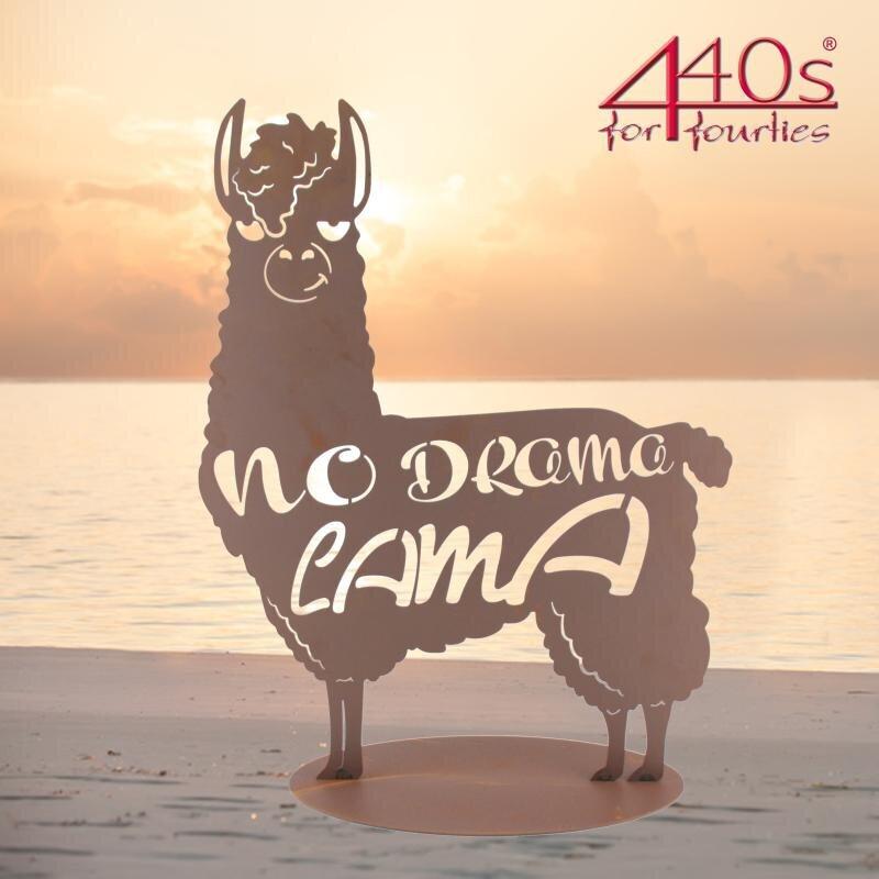 Ferrum Art Design Rost-Figur No-Drama-Lama auf Platte | FE-5-0583