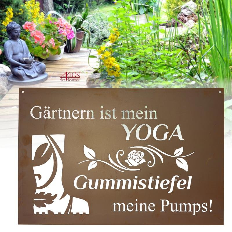 440s Ferrum Art Design Rost-Gedichttafel 'Yoga' | FE-9-0977