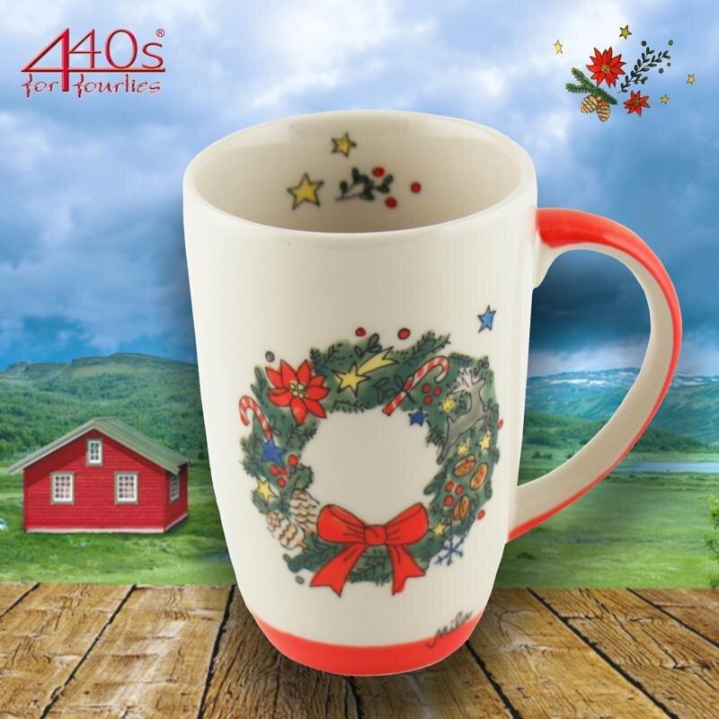 Mila Keramik-Design-Becher Weihnachtskranz | MI-95219