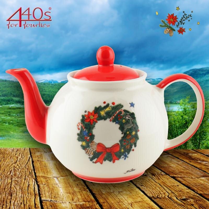 Mila Keramik-Teekanne Weihnachtskranz ca. 1,2 Liter | MI-94219
