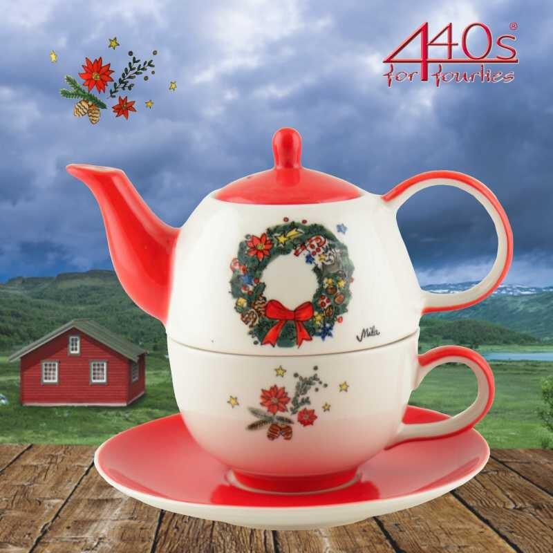 Mila Keramik Tee-Set Tea for One Motiv Weihnachtskranz | MI-99219