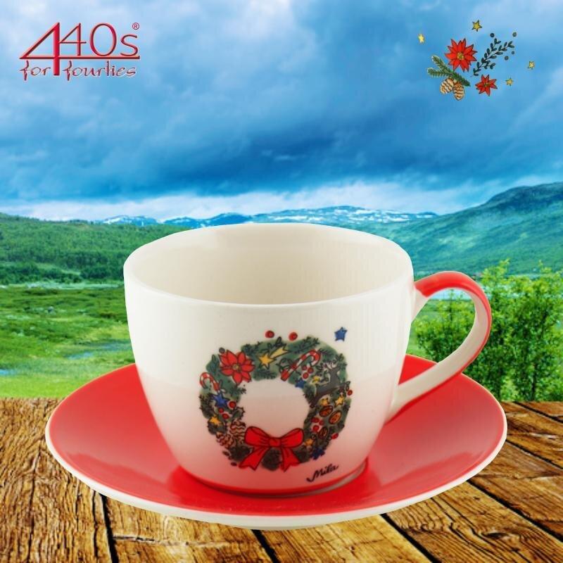 Mila Keramik-Cappuccino-Tasse mit Untere Weihnachtskranz   MI-86219