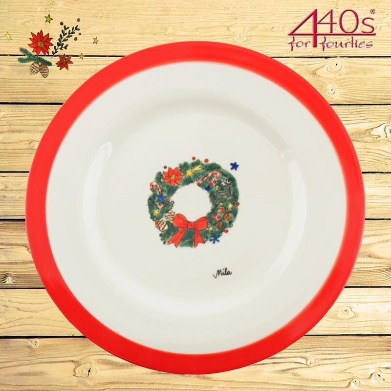Mila Keramik-Teller Weihnachtskranz ca 26 cm D | MI-97219
